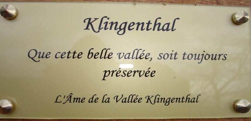 Plaque de l'Ame de la Vallée de Klingenthal